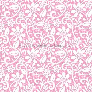 Digiprintti trikoo Pink Floral Lace