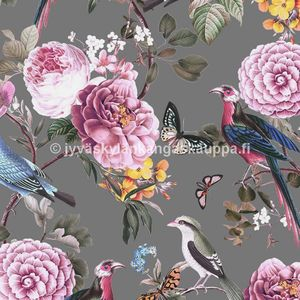 Digiprintti trikoo Birds and Pink Flowers GREY