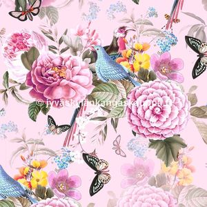 Digiprintti trikoo Birds and Pink Flowers