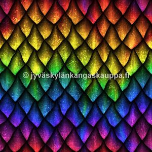 Digiprintti trikoo Rainbow Dragon Scales