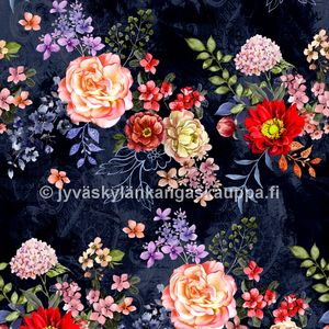 Digiprintti trikoo Flowers Navy