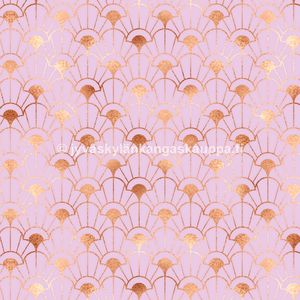 Digiprintti trikoo Glitter Seashells Rose