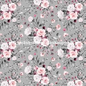 Digiprintti trikoo Delicate Flowers Grey PIENI