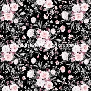 Digiprintti trikoo Delicate Flowers Black PIENI