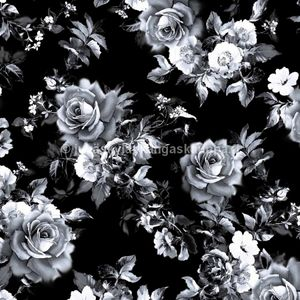 Digiprintti trikoo Black Rose