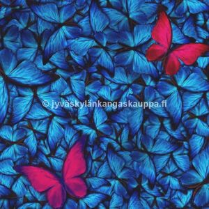 Digiprintti trikoo Blue and Pink Butterflies