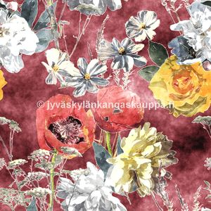 Digiprintti trikoo Water Colour Burgundy Flowers