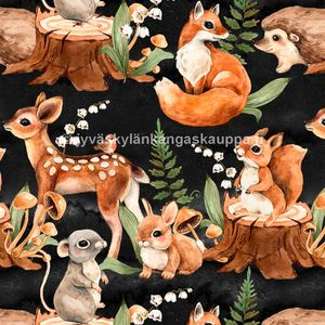 Digiprintti trikoo Cute Forest Animals Black
