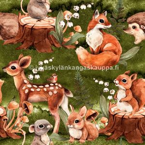 Digiprintti trikoo Cute Forest Animals Green