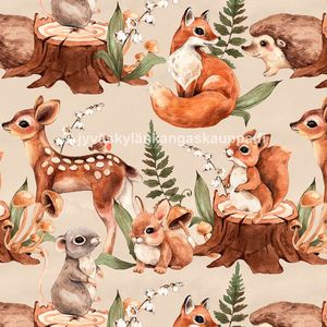 Digiprintti trikoo Cute Forest Animals Nude