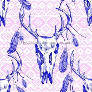 Digiprintti trikoo Deer Skulls and Feathers