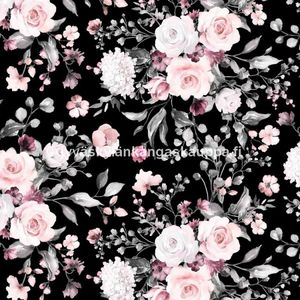 Digiprintti trikoo Delicate Flowers Black