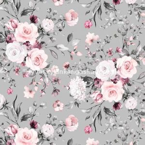 Digiprintti trikoo Delicate Flowers Grey