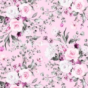 Digiprintti trikoo Delicate Flowers Rose