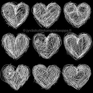 Digiprintti trikoo Drawn Hearts