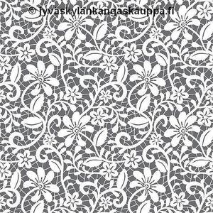 Digiprintti trikoo Grey Floral Lace