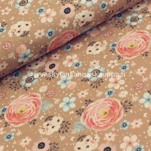 Digiprintti trikoo Buttercup Garden Taupe