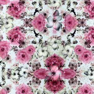 Digiprintti trikoo Flowerly Pink
