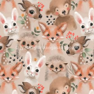 Digiprintti trikoo Fluffy Animals Brown