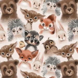 Digiprintti trikoo Fluffy Animals Grey