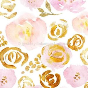 Digiprintti trikoo Golden Floral