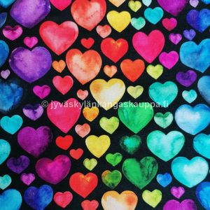 Digiprintti trikoo Watercolour Hearts Black