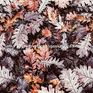 Digiprintti trikoo Brown Oak Leaves