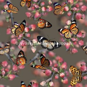 Digiprintti trikoo Orange Butterflies