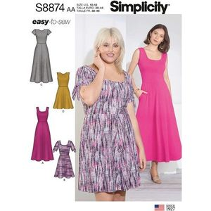 Simplicity kaava S8874 Easy-to-Sew Knit Dress