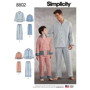 Simplicity kaava S8802 Boys and Mens Sleepwear