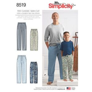Simplicity kaava S8519 Boys and Mens Slim Fit Pants