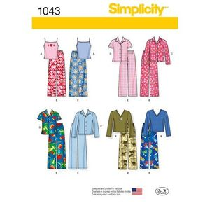 Simplicity kaava S1043 Child, Girl and Boy Pyjamas