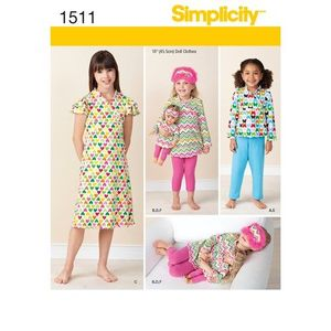 Simplicity kaava S1511 Child and Doll Matching Loungewear