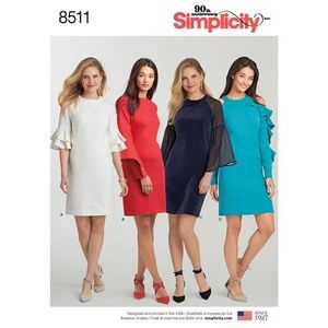 Simplicity kaava S8511 Dress with Sleeve Variations
