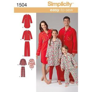 Simplicity kaava S1504 Kids, Teens and Adults Loungewear