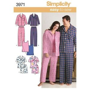Simplicity kaava S3971 Women and Mens Plus Size Cozywear