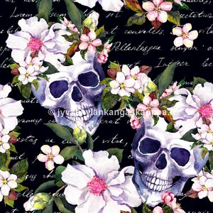 Digiprintti trikoo Skulls and Flowers Black