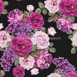 Digiprintti trikoo Summer Roses and Lilac