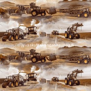 Digiprintti trikoo Tractors and Windmills Brown