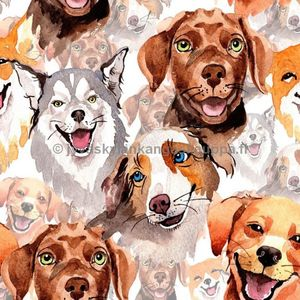 Digiprintti trikoo Water Colour Dogs