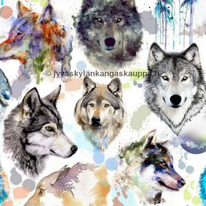 Digiprintti trikoo Water Colour Wolf