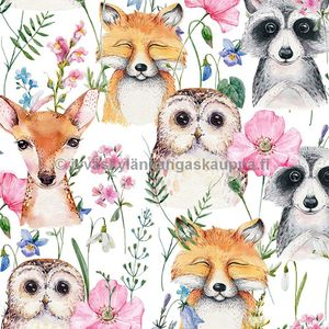Digiprintti trikoo Water Colour Animal Friends