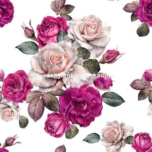 Digiprintti trikoo Pink and Peach Roses