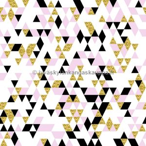 Digiprintti trikoo Gold and Pink Triangles