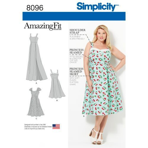 Simplicity kaava S8096 Amazing Fit Plus Size Dresses