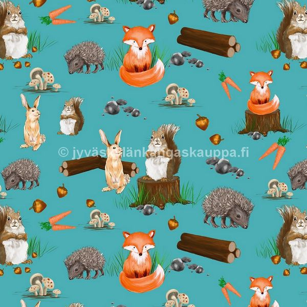 Digiprintti trikoo Animals and Wood Blue