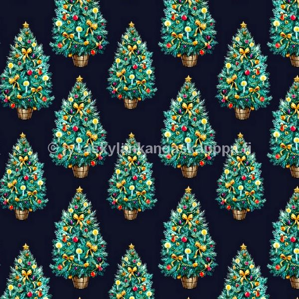 Digiprintti trikoo Christmas Trees