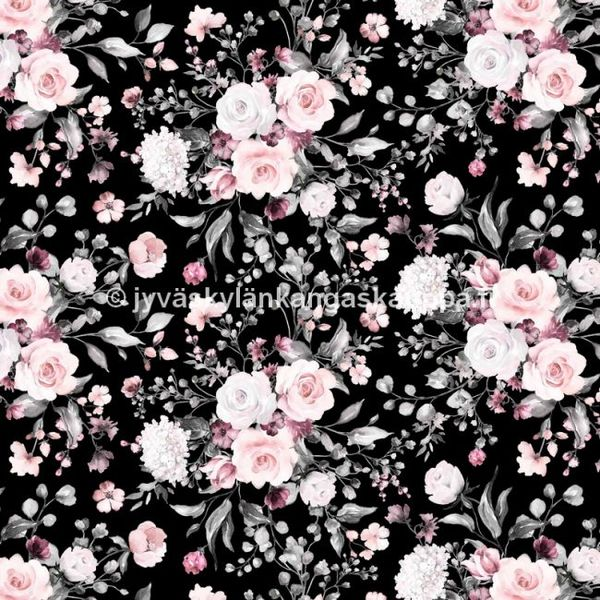Digiprintti trikoo Delicate Flowers Black ISO