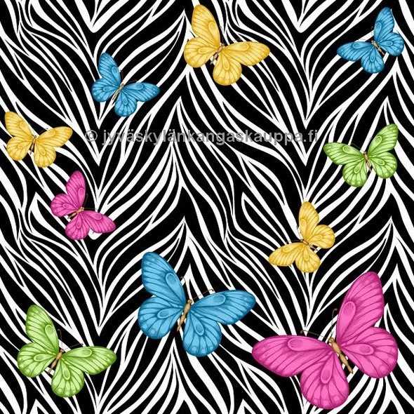 Digiprintti trikoo Colorful Butterflies