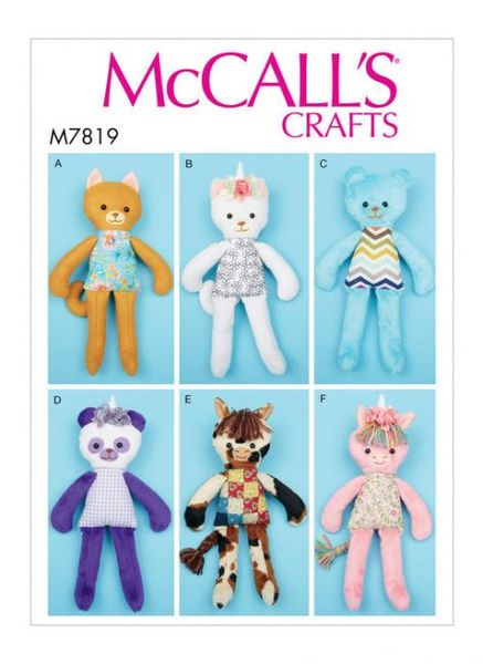 McCALL´s kaava M7819 Soft Toy Animals
